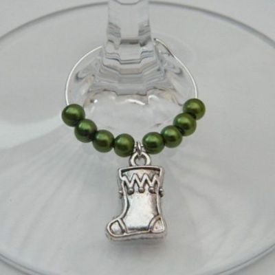 Christmas Stocking Wine Glass Charm - Beaded Style